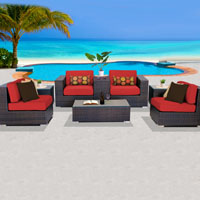 Basic Ocean View Red Spice 8 Piece Outdoor Wicker Patio Furniture Set