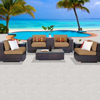 Basic Ocean View Taupe 8 Piece Outdoor Wicker Patio Furniture Set