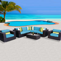 Exclusive Ocean View Tropical Blue 8 Piece Outdoor Wicker Patio Furniture Set