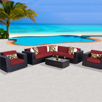 Exclusive Ocean View Henna Spice 8 Piece Outdoor Wicker Patio Furniture Set