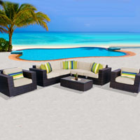 Exclusive Ocean View Ivory 8 Piece Outdoor Wicker Patio Furniture Set
