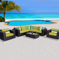 Exclusive Ocean View Peridot 8 Piece Outdoor Wicker Patio Furniture Set