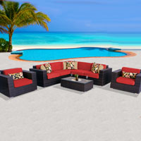Exclusive Ocean View Red Spice 8 Piece Outdoor Wicker Patio Furniture Set