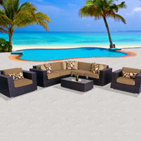 Exclusive Ocean View Taupe 8 Piece Outdoor Wicker Patio Furniture Set