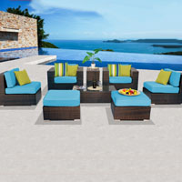 Contemporary Ocean View Tropical Blue 8 Piece Outdoor Wicker Patio Furniture Set