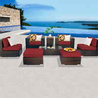 Contemporary Ocean View Henna Spice 8 Piece Outdoor Wicker Patio Furniture Set