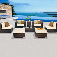 Contemporary Ocean View Ivory 8 Piece Outdoor Wicker Patio Furniture Set
