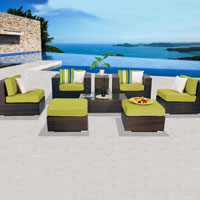 Contemporary Ocean View Peridot 8 Piece Outdoor Wicker Patio Furniture Set
