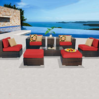Contemporary Ocean View Red Spice 8 Piece Outdoor Wicker Patio Furniture Set