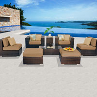 Contemporary Ocean View Taupe 8 Piece Outdoor Wicker Patio Furniture Set