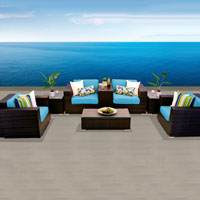 Grand Ocean View Tropical Blue 8 Piece Outdoor Wicker Patio Furniture Set