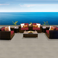 Grand Ocean View Henna Spice 8 Piece Outdoor Wicker Patio Furniture Set