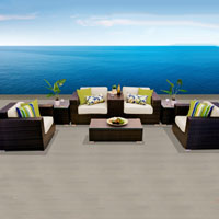 Grand Ocean View Ivory 8 Piece Outdoor Wicker Patio Furniture Set