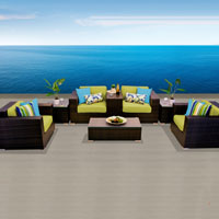 Grand Ocean View Peridot 8 Piece Outdoor Wicker Patio Furniture Set