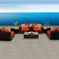 Grand Ocean View Red Spice 8 Piece Outdoor Wicker Patio Furniture Set