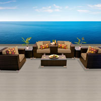 Grand Ocean View Taupe 8 Piece Outdoor Wicker Patio Furniture Set
