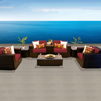 Elegant Ocean View Henna Spice 8 Piece Outdoor Wicker Patio Furniture Set