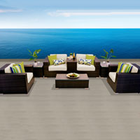 Elegant Ocean View Ivory 8 Piece Outdoor Wicker Patio Furniture Set