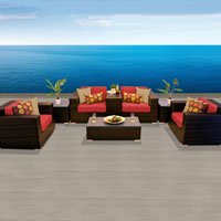 Elegant Ocean View Red Spice 8 Piece Outdoor Wicker Patio Furniture Set