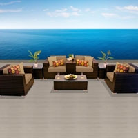 Elegant Ocean View Tropical Blue 8 Piece Outdoor Wicker Patio Furniture Set