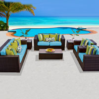 Elite Ocean View Tropical Blue 8 Piece Outdoor Wicker Patio Furniture Set