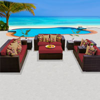 Elite Ocean View Henna Spice 8 Piece Outdoor Wicker Patio Furniture Set