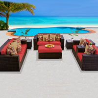 Elite Ocean View Red Spice 8 Piece Outdoor Wicker Patio Furniture Set