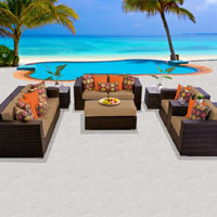 Elite Ocean View Taupe 8 Piece Outdoor Wicker Patio Furniture Set