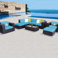 Deluxe Ocean View Tropical Blue 9 Piece Outdoor Wicker Patio Furniture Set