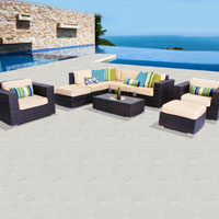Deluxe Ocean View Ivory 9 Piece Outdoor Wicker Patio Furniture Set