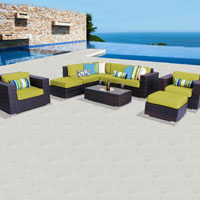 Deluxe Ocean View Peridot 9 Piece Outdoor Wicker Patio Furniture Set
