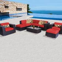 Deluxe Ocean View Red Spice 9 Piece Outdoor Wicker Patio Furniture Set