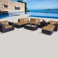 Deluxe Ocean View Taupe 9 Piece Outdoor Wicker Patio Furniture Set