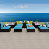 Modern Ocean View Tropical Blue 9 Piece Outdoor Wicker Patio Furniture Set