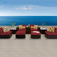 Modern Ocean View Henna Spice 9 Piece Outdoor Wicker Patio Furniture Set