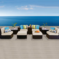 Modern Ocean View Ivory 9 Piece Outdoor Wicker Patio Furniture Set