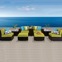 Modern Ocean View Peridot 9 Piece Outdoor Wicker Patio Furniture Set