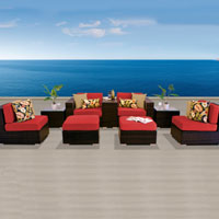 Modern Ocean View Red Spice 9 Piece Outdoor Wicker Patio Furniture Set