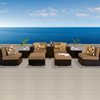 Modern Ocean View Taupe 9 Piece Outdoor Wicker Patio Furniture Set