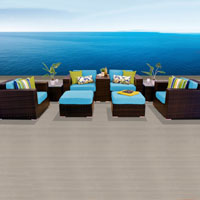 Elegant Ocean View Tropical Blue 9 Piece Outdoor Wicker Patio Furniture Set