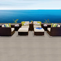 Elegant Ocean View Ivory  9 Piece Outdoor Wicker Patio Furniture Set