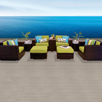 Elegant Ocean View Peridot 9 Piece Outdoor Wicker Patio Furniture Set