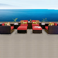 Elegant Ocean View Red Spice 9 Piece Outdoor Wicker Patio Furniture Set