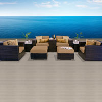 Elegant Ocean View Taupe 9 Piece Outdoor Wicker Patio Furniture Set