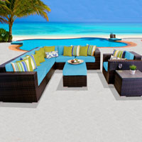 Elite Ocean View Tropical Blue 9 Piece Outdoor Wicker Patio Furniture Set