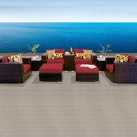 Elite Ocean View Henna Spice 9 Piece Outdoor Wicker Patio Furniture Set