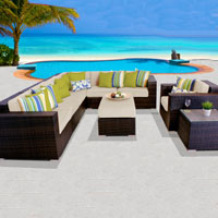 Elite Ocean View Ivory 9 Piece Outdoor Wicker Patio Furniture Set