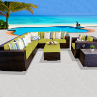 Elite Ocean View Peridot 9 Piece Outdoor Wicker Patio Furniture Set