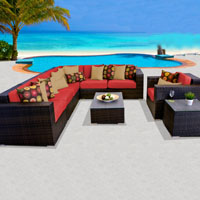 Elite Ocean View Spice Red 9 Piece Outdoor Wicker Patio Furniture Set