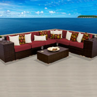 Grand Ocean View Henna Spice 9 Piece Outdoor Wicker Patio Furniture Set